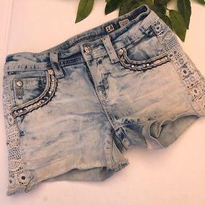 Miss Me Acid Wash & Lace Girls Jean Shorts